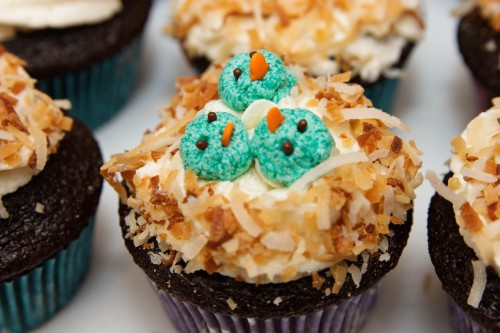Baby Bird Cupcakes for Easter